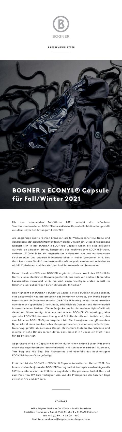 BOGNER x ECONYL® Capsule for Fall/Winter 2021