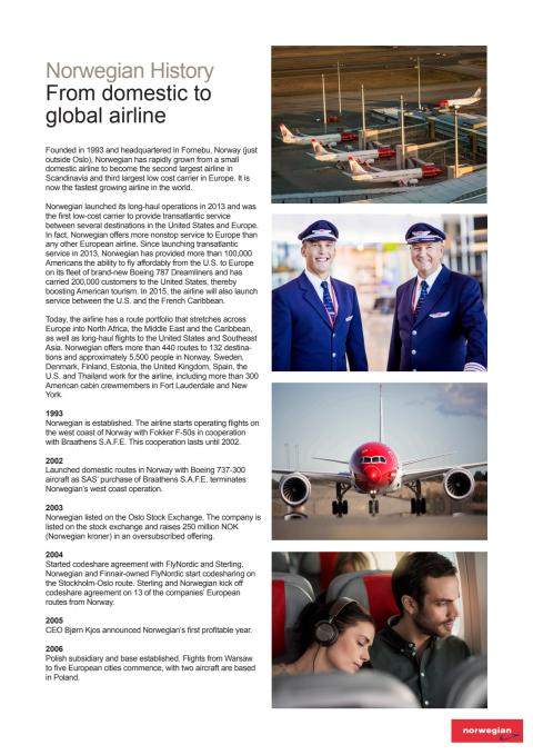 Norwegian History: From Domestic to Global Airline