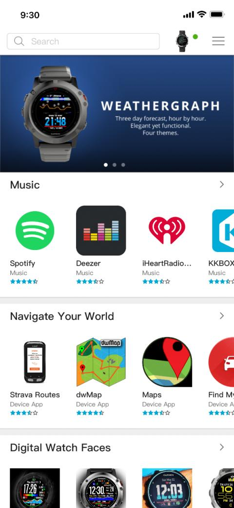 Connect IQ App Store, Musik, Navigation, Watch Faces