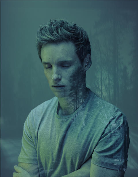 Nadav Kander, Eddie Redmayne (Forest), 2016. Courtesy of Flowers Gallery