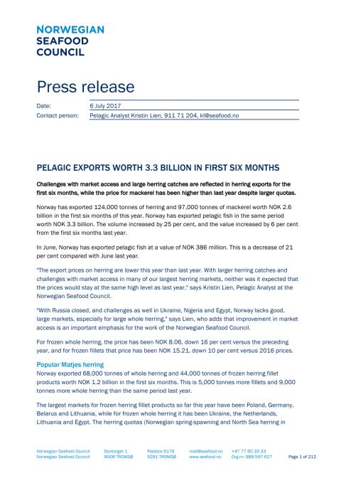 Norwegian pelagic exports worth NOK 3.3 billion in first half of 2017