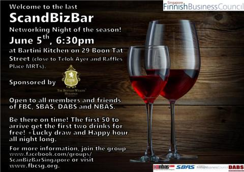 ScandBizBar Networking Night, Thursday 5th of June 18.30 pm at Bartini Kitchen