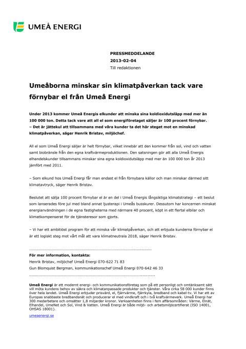 Umeåborna minskar sin klimatpåverkan tack vare förnybar el från Umeå Energi