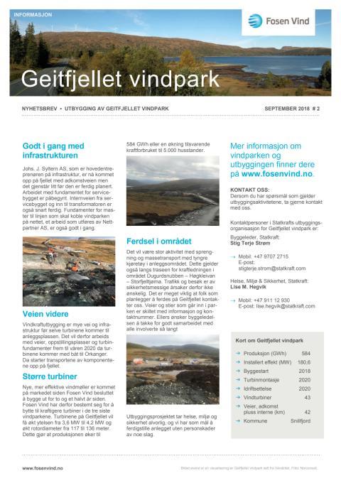 Nyhetsbrev Geitfjellet vindpark  #2 - 2018