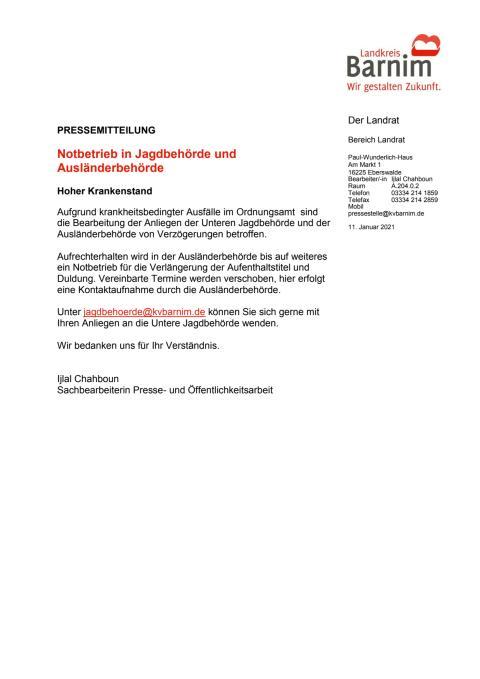 Notbetrieb in Jagdbehörde und Ausländerbehörde