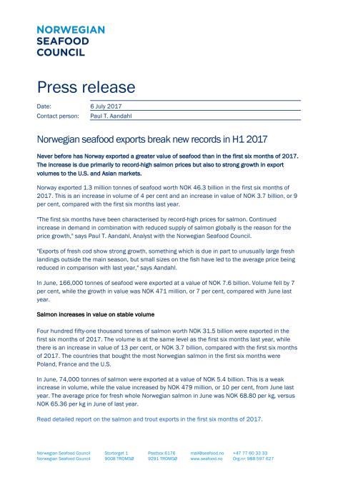 Norwegian seafood exports break new records in first half of 2017