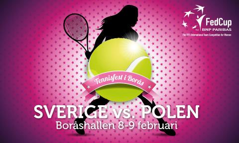 Svenska tennislandslaget till Borås för spel i Fed Cup 8-9 februari 2014, Boråshallen Sverige vs Polen