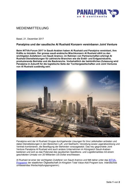 Panalpina und der saudische Al Rushaid Konzern vereinbaren Joint Venture