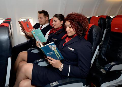 Norwegian crew reading their favourite Roald Dahl books