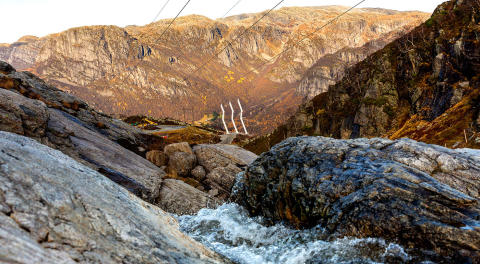 Rock solid anchoring for design pylons at Lysefjorden