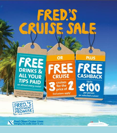 Fred. Olsen Cruise Lines launches its new 'Turn of Year' sales campaign – 'Three Cruises for the Price of Two', 'Free Tips & Tipples' and 'Up to £100pp Cashback'