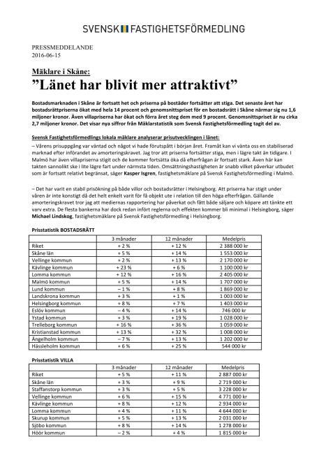"""Mäklare i Skåne: """"Länet har blivit mer attraktivt"""""""