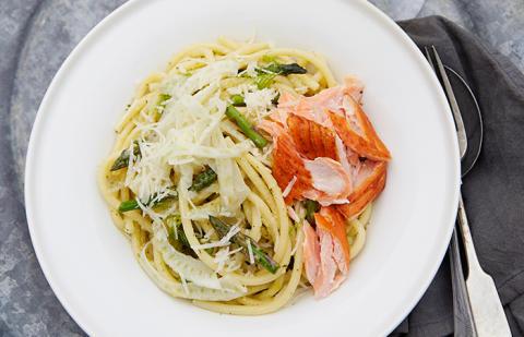 Korshags recepttips: Grön pasta med varmrökt lax, fänkål & sparris