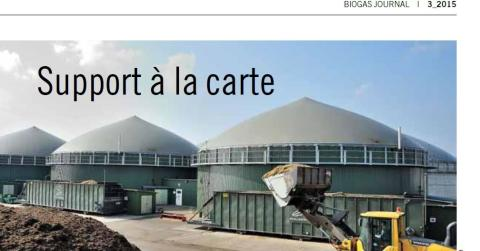 """""""Support a` la carte - Malmberg in Biogas Journal issue no 3"""