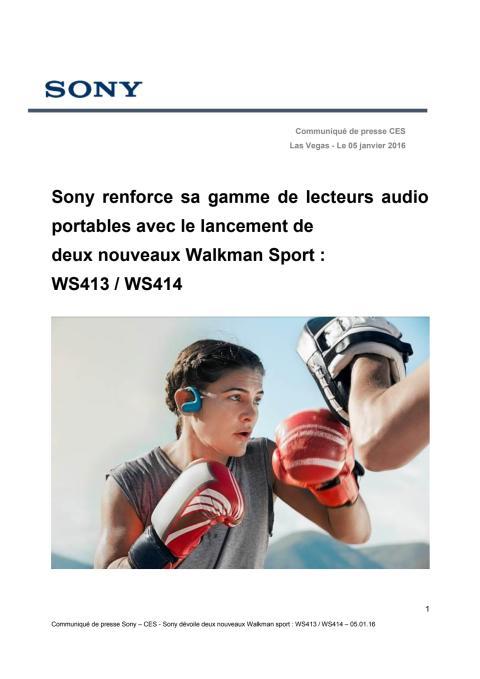 Sony renforce sa gamme de lecteurs audio portables avec le lancement de  deux nouveaux Walkman Sport : WS413 / WS414