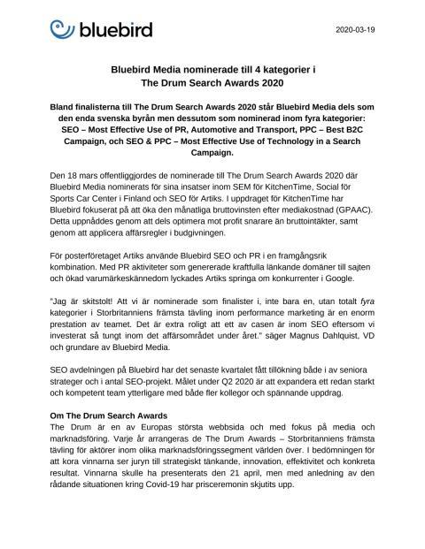 Bluebird Media nominerade till 4 kategorier i  The Drum Search Awards 2020