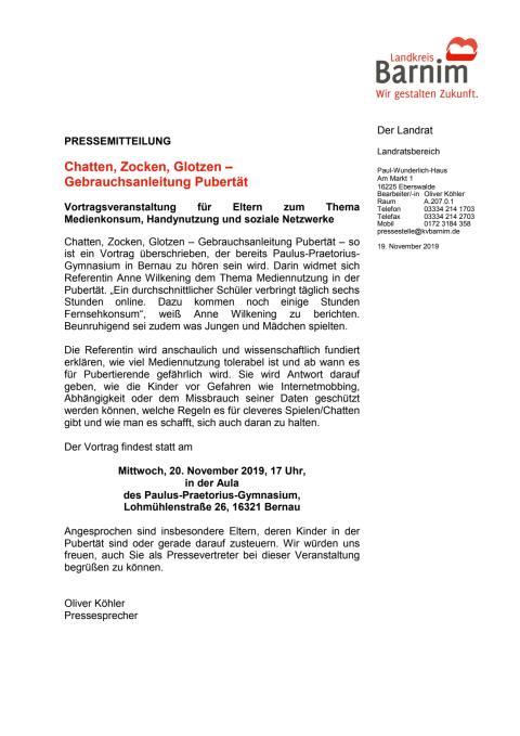 Einladung Vortrag zum Thema Mediennutzung