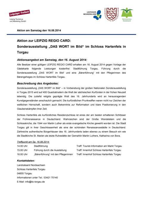 Aktionsangebot Schloss Hartenfels Torgau 16.08.2014
