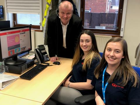 Ivan Jepson, Director of Business Development at Gateshead College, with Zoe Gibbons and Sarah Cooper from Go North East's customer service team