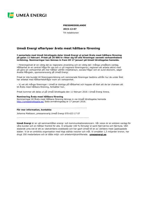 Umeå Energi efterlyser årets mest hållbara förening
