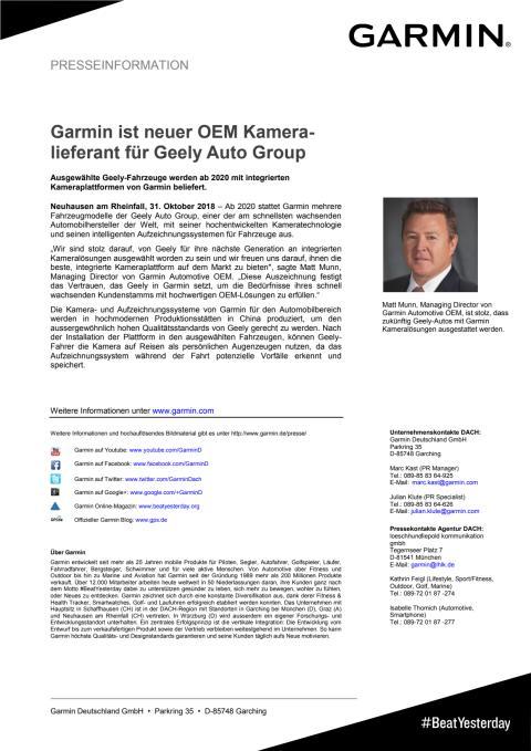 Garmin ist neuer OEM Kameralieferant für Geely Auto Group