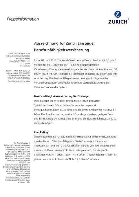Auszeichnung für Zurich Einsteiger Berufsunfähigkeitsversicherung
