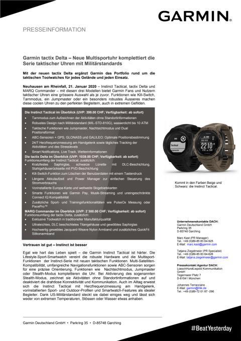 Garmin tactix Delta – Neue Multisportuhr komplettiert die Serie taktischer Uhren mit Militärstandards
