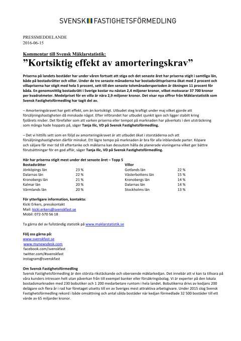 """Kommentar till Svensk Mäklarstatistik: """"Kortsiktig effekt av amorteringskrav"""""""