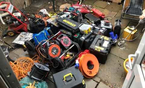 Photo of power tools recovered in Milton Keynes
