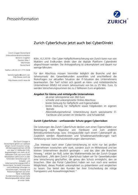 Zurich CyberSchutz jetzt auch bei CyberDirekt