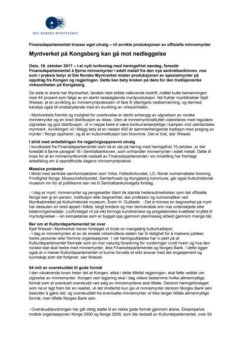 Myntverket på Kongsberg kan gå mot nedleggelse