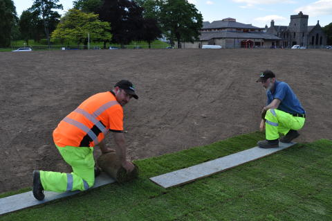 Turfing begins on Cooper Park viewing area