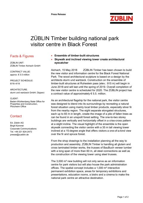 ZÜBLIN Timber building national park visitor centre in Black Forest