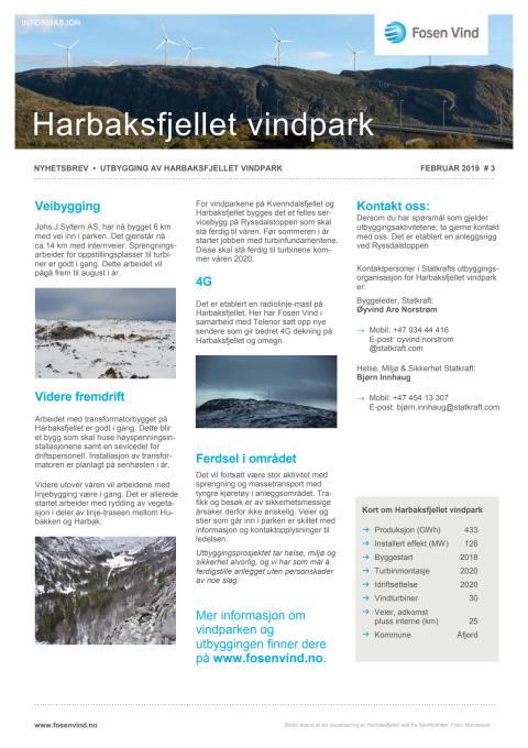 Nyhetsbrev Kvenndalsfjellet og Harbaksfjellet vindparker  #3 2019