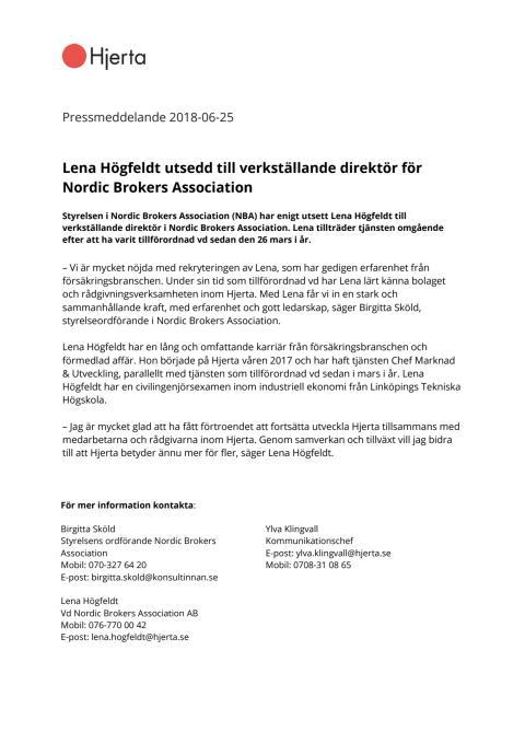 Lena Högfeldt utsedd till verkställande direktör för Nordic Brokers Association