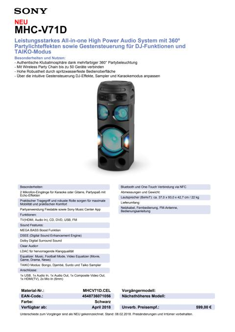 Datenblatt Audio System MHC-V71D von Sony