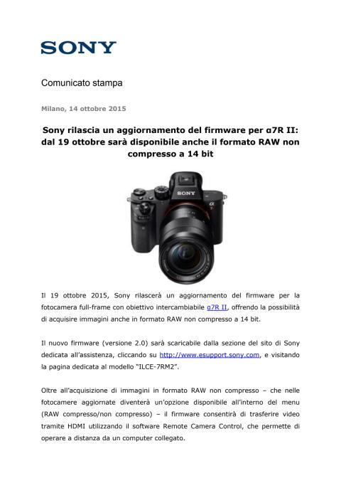 Sony rilascia un aggiornamento del firmware per α7R II: dal 19 ottobre sarà disponibile anche il formato RAW non compresso a 14 bit
