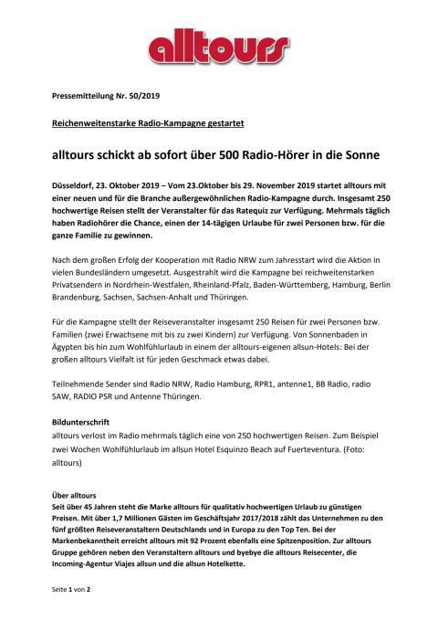 Reichenweitenstarke Radio-Kampagne gestartet - alltours schickt ab sofort über 500 Radio-Hörer in die Sonne