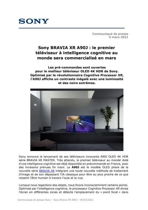 Sony BRAVIA XR A90J : le premier téléviseur à intelligence cognitive au monde sera commercialisé en mars