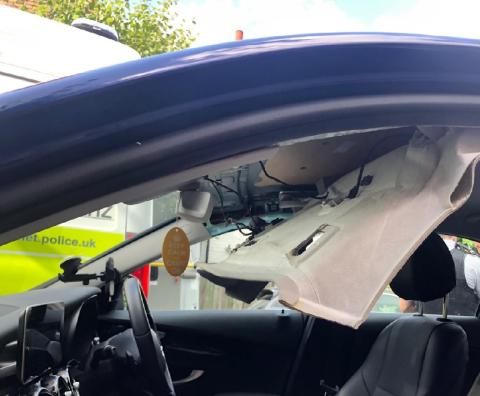 Roof of car where drugs were concealed
