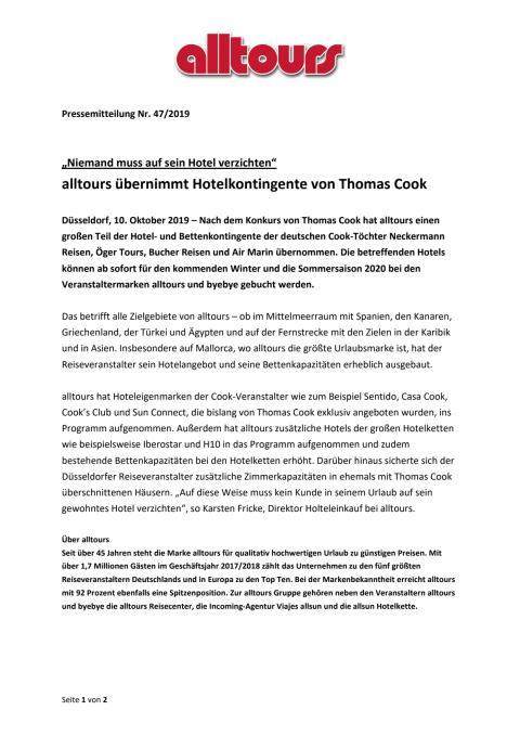 """""""Niemand muss auf sein Hotel verzichten"""" - alltours übernimmt Hotelkontingente von Thomas Cook"""