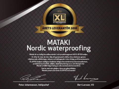 Årets XL-BYGG leverantor 2016.