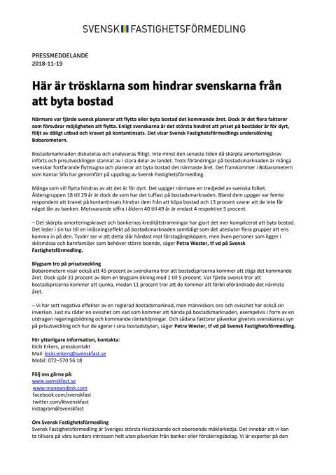 Här är trösklarna som hindrar svenskarna från att byta bostad