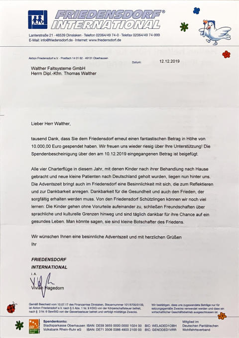 WALTHER spendet 10.000€ an Friedensdorf