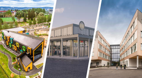 Kilden förskola, Lidl i Visby och Horten gymnasium av LINK arkitektur