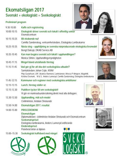 Program Ekomatsligan 2017 med tema Svekologiskt