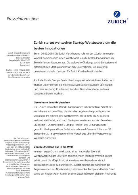 Zurich startet weltweiten Startup-Wettbewerb um die besten Innovationen