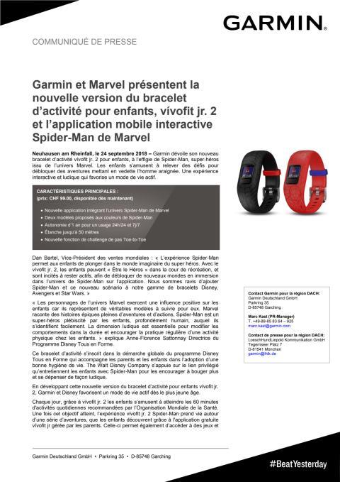 Garmin et Marvel présentent la nouvelle version du bracelet d'activité pour enfants, vívofit jr. 2 et l'application mobile interactive Spider-Man de Marvel
