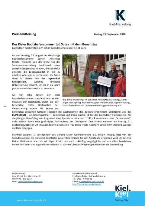 Kieler Jugenddorf Falckenstein erhält 1.111 Euro Spende aus Benefiztag Bootshafensommer 2018