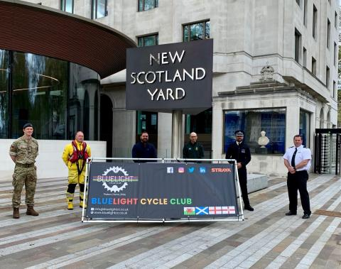 Representatives of some of the services involved in the Bluelight Cycling Club